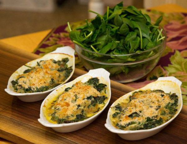 Brussels Sprouts and Spinach Gratin